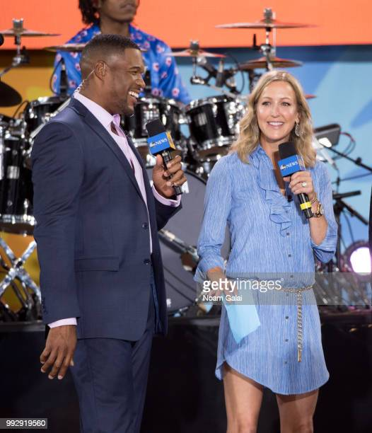 Michael Strahan and Lara Spencer attend ABC's 'Good Morning America' at Rumsey Playfield Central Park on July 6 2018 in New York City