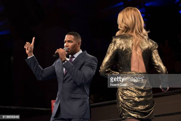 Michael Strahan and Petra Nemcova speak at the All Hands and Hearts Smart Response Third Annual Fight For Education gala at Cipriani Wall Street on...