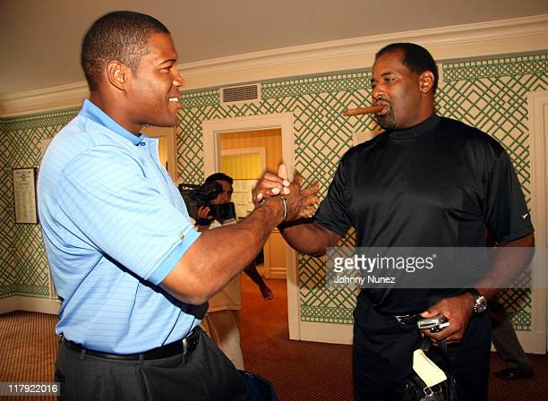Michael Strahan and Richard Dent during Michael Strahan Dreier LLP First Annual Golf Tournament at Century Country Club in Purchase New York United...