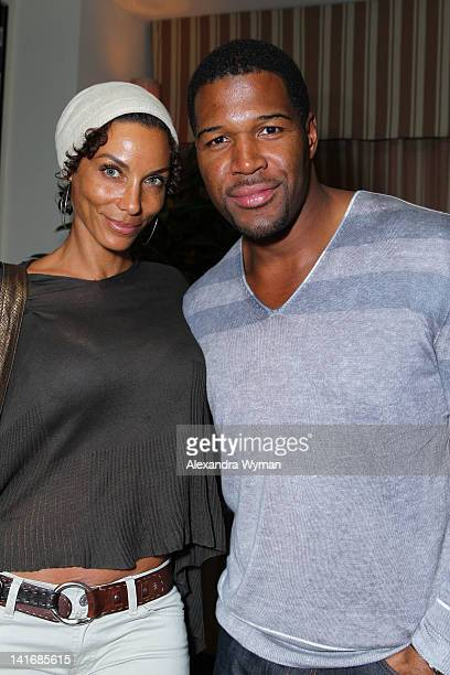 Michael Strahan and wife attend the LACOSTE launch of Women's Spring/Summer 2012 Collection held at The Sunset Tower on March 21 2012 in West...