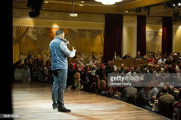 Michael Strahan answers questions from the audience during the Ultimate Super Bowl Tailgate Party hosted by Michael Strahan at Harrah's Casino on...