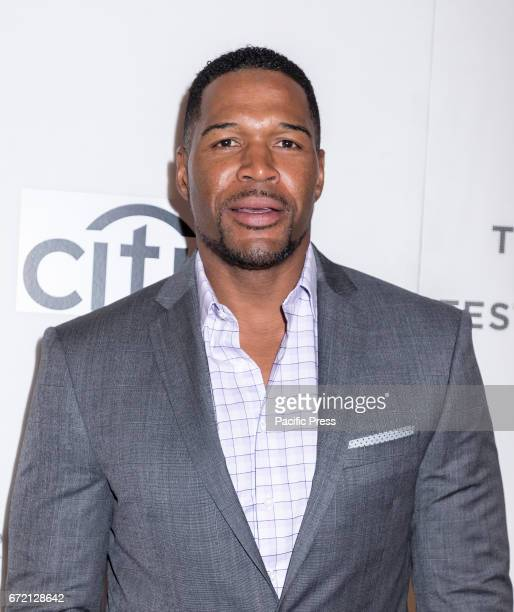 Michael Strahan attends the 2017 Tribeca Film Festival's Tribeca Talks Storytellers Kobe Bryant with Glen Keane at BMCC Tribeca PAC
