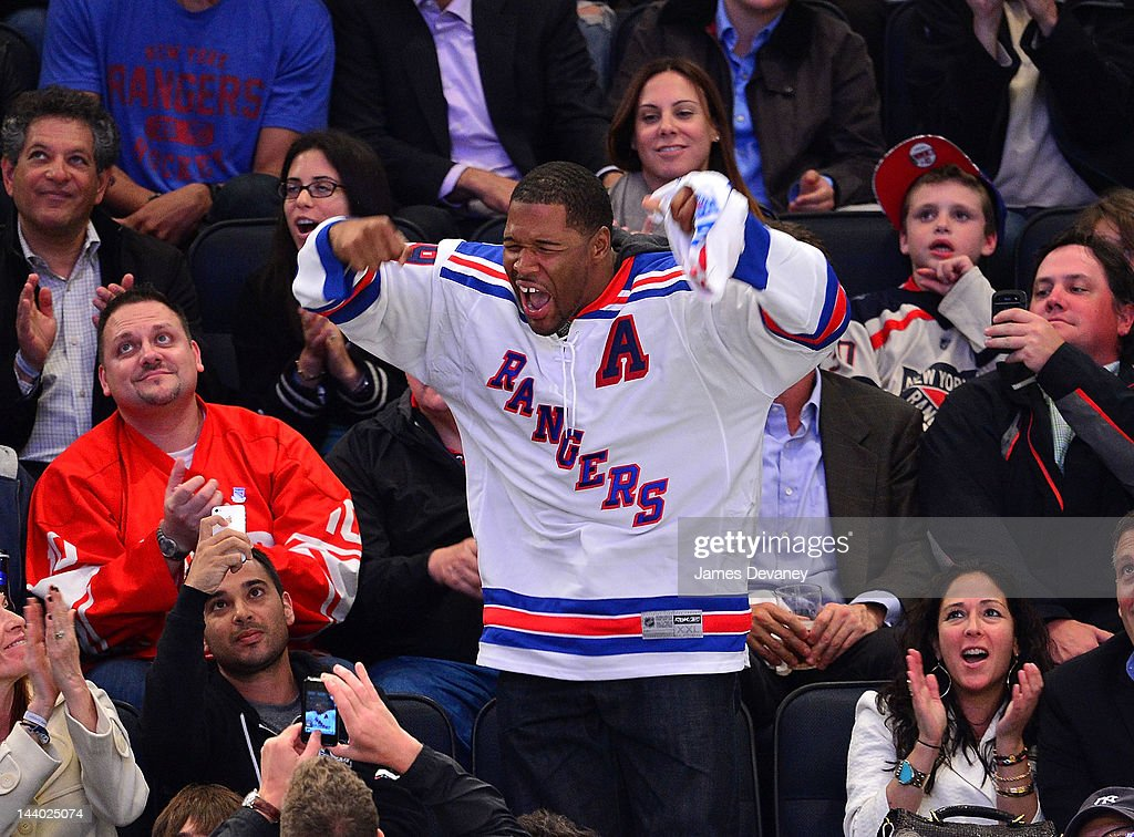 Michael Strahan attends the Washington Capitals vs New York Rangers playoff game at Madison Square Garden on May 7, 2012 in New York City.