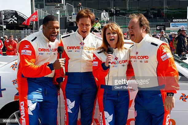 Michael Strahan Bruce Jenner Patty Loveless and Jim Belushi perform prior to the NASCAR Nationwide Series Drive4COPD 300 at Daytona International...