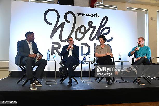 Michael Strahan Chairman and CEO of iHeartMedia Inc Robert Pittman Adam Neumann and Tim Ferriss speak at the iHeartMedia and WeWork host launch event...