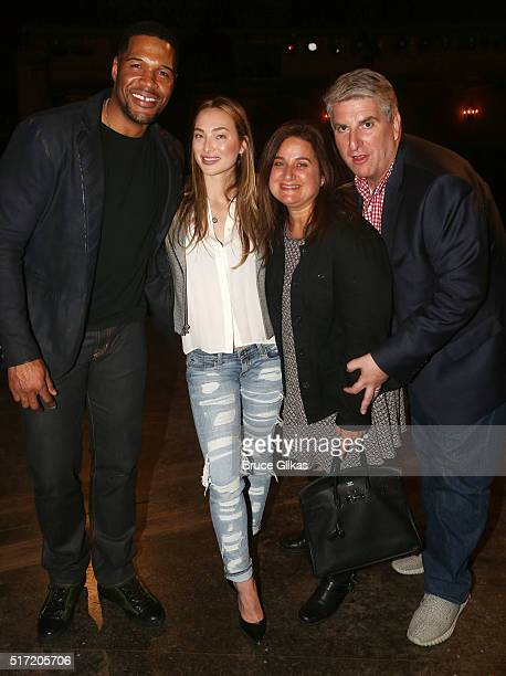 Michael Strahan girlfriend Kayla Quick and friends pose backstage at the hit musical Kinky Boots on Broadway at The Al Hirshfeld Theatre on March 23...