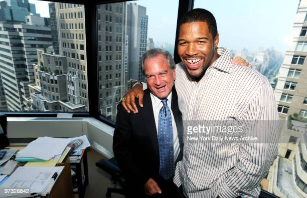 Michael Strahan in his lawyer Marc Dreier's Park Ave office, talking about life after football and his charity golf event. ..??