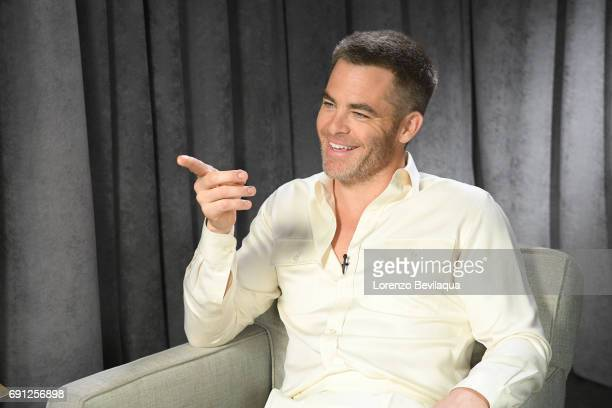 AMERICA Michael Strahan interviews Chris Pine on Good Morning America airing Thursday June 1st on the Walt Disney Television via Getty Images...