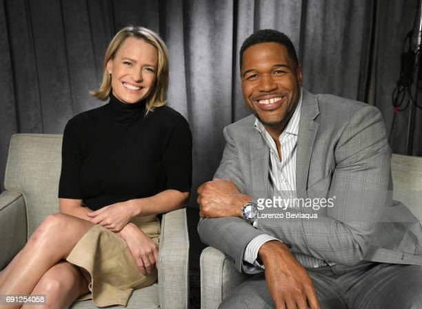 AMERICA Michael Strahan interviews Robin Wright on Good Morning America airing Tuesday May 30 on the Walt Disney Television via Getty Images...