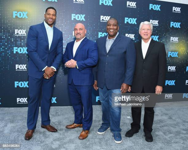 Michael Strahan Jay Glazer Curt Menefee and Jimmy Johnson attend the 2017 FOX Upfront at Wollman Rink Central Park on May 15 2017 in New York City