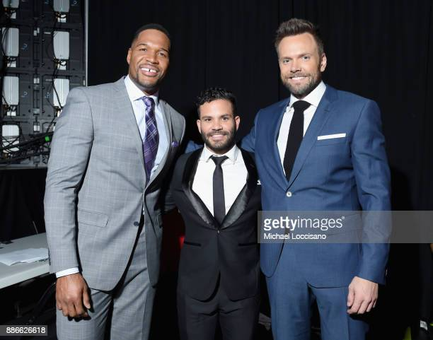 Michael Strahan Jose Altuve and JJ Watt attend SPORTS ILLUSTRATED 2017 Sportsperson of the Year Show on December 5 2017 at Barclays Center in New...