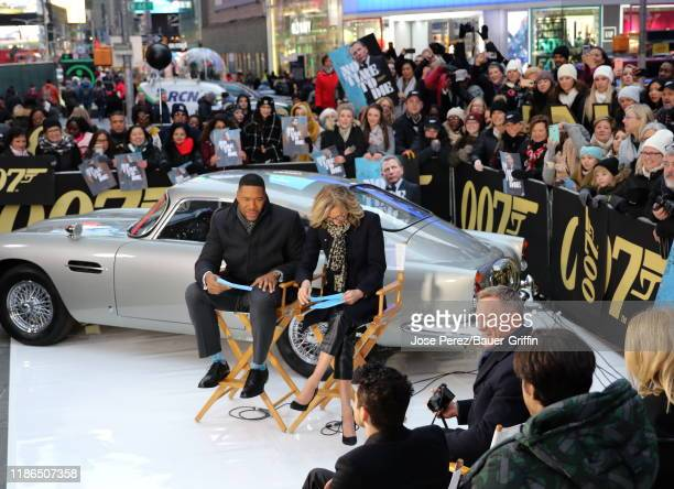 Michael Strahan Lara Spencer and Daniel Craig are seen at Times Square on December 04 2019 in New York City