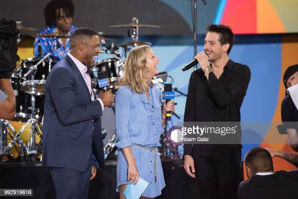 Michael Strahan Lara Spencer and GEazy attend ABC's 'Good Morning America' at Rumsey Playfield Central Park on July 6 2018 in New York City