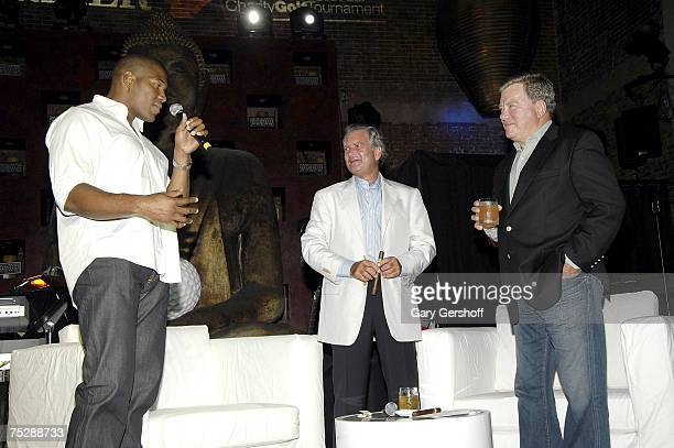 Michael Strahan, Marc Dreier and William Shatner on stage at the Michael Strahan/Dreier LLP Charity Golf Tournament Party and Auction at TAO...
