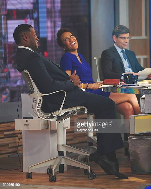 Michael Strahan Robin Roberts and George Stephanopoulos are seen on the set of 'Good Morning America' on April 21 2016 in New York City