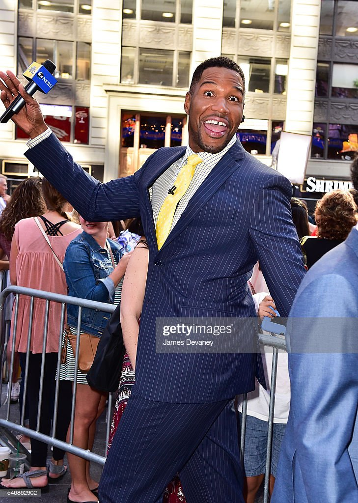 Michael Strahan seen outside ABC's 'Good Morning America' in Times Square on July 12, 2016 in New York City.