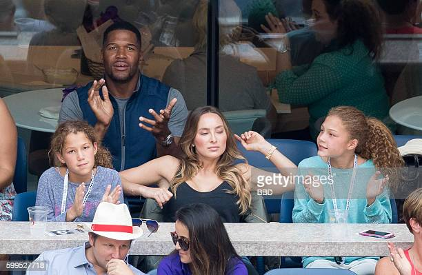 Michael Strahan with 2 daughters and girlfriend Kayla Quick at USTA Billie Jean King National Tennis Center on September 5 2016 in the Queens borough...