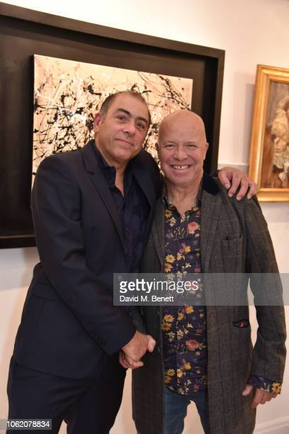 Michael Stravrides and Paul Karslake attend a private view of artist Paul Karslake's exhibition at The Marylebone Gallery on November 15 2018 in...
