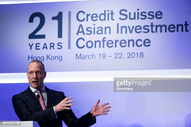 Michael Strobaek global chief investment officer at Credit Suisse Group AG speaks during the Credit Suisse Asian Investment Conference in Hong Kong...