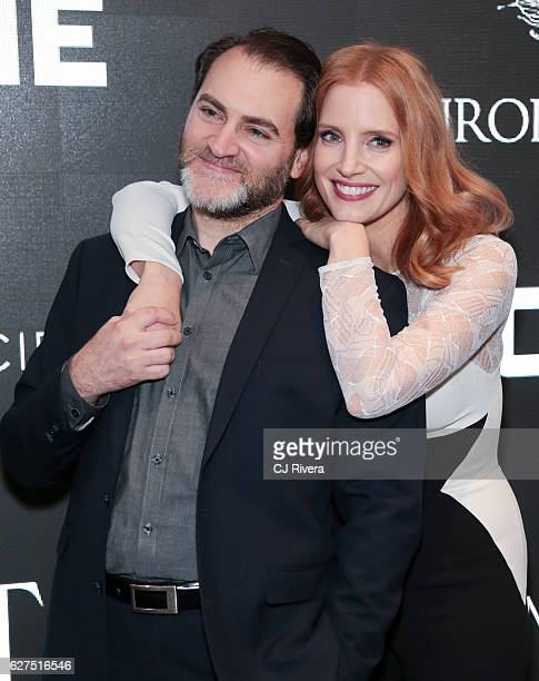 Michael Stuhlbarg and Jessica Chastain attend a Cinema Society screening of EuropaCorp's Miss Sloane at SAGAFTRA Foundation Robin Williams Center on...