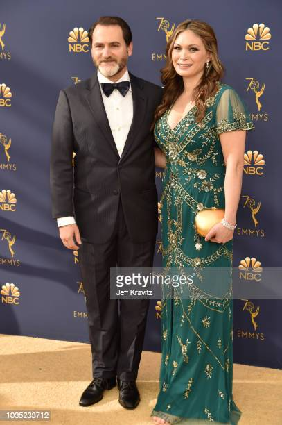 Michael Stuhlbarg and MaiLinh Lofgren attend the 70th Emmy Awards at Microsoft Theater on September 17 2018 in Los Angeles California