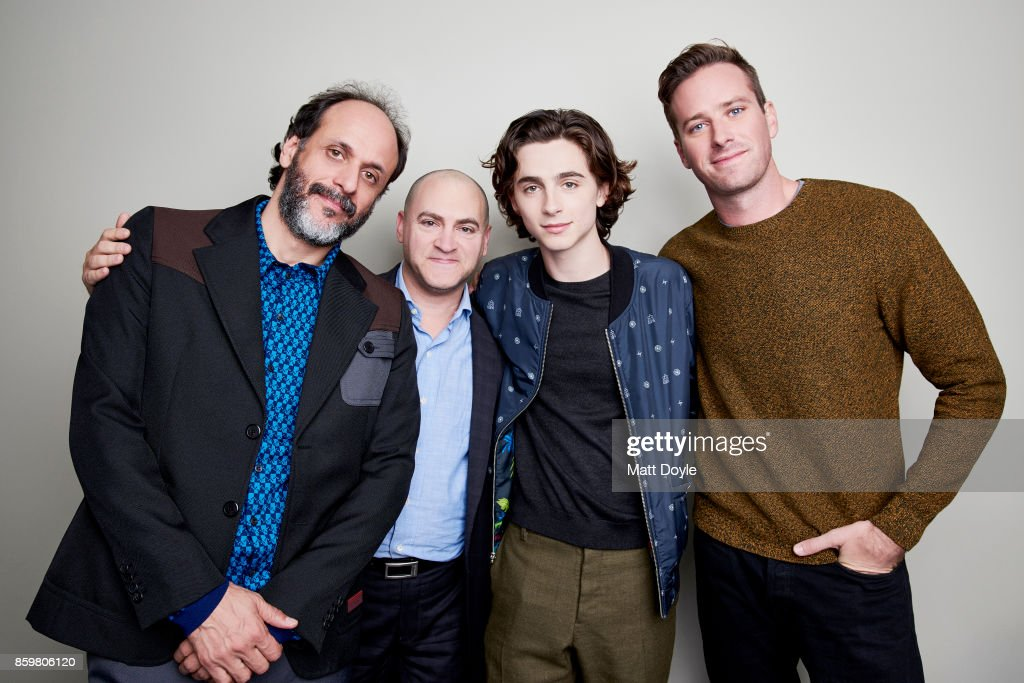 Michael Stuhlbarg, Timothee Chalamet, Armie Hammer and Luca Guadagnino of 'Call me by your name' pose for a portrait at the 55th New York Film Festival on October 4, 2017.