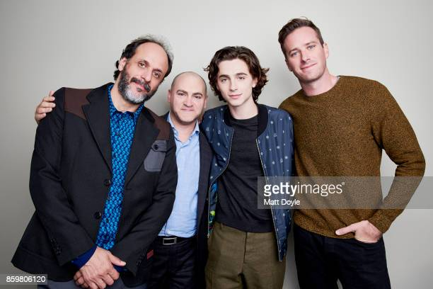 Michael Stuhlbarg Timothee Chalamet Armie Hammer and Luca Guadagnino of 'Call me by your name' pose for a portrait at the 55th New York Film Festival...