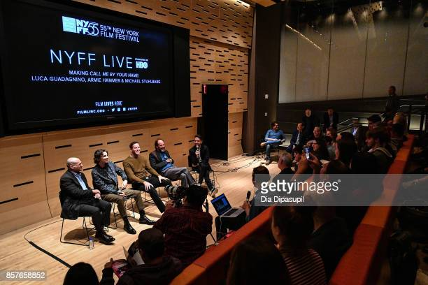 Michael Stuhlbarg Timothee Chalamet Armie Hammer director Luca Guadagnino and moderator Nigel Smith attend NYFF Live Making 'Call Me by Your Name'...