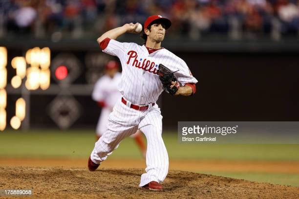 Michael Stutes of the Philadelphia Phillies pitches against the Miami Marlins at Citizens Bank Park on June 4 2013 in Philadelphia Pennsylvania The...