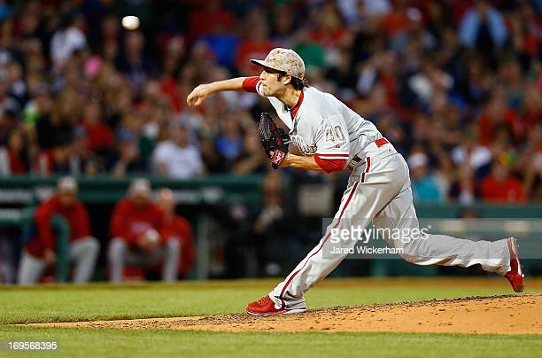 Michael Stutes of the Philadelphia Phillies pitches against the Boston Red Sox during the interleague game on May 27 2013 at Fenway Park in Boston...