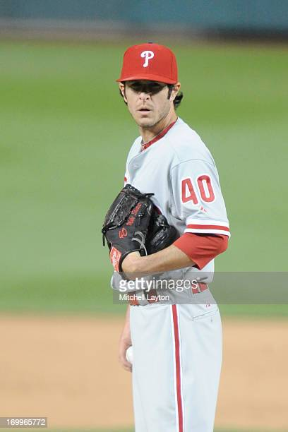 Michael Stutes of the Philadelphia Phillies pitches during a baseball game against the Washington Nationals on May 24 2013 at Nationals Park in...