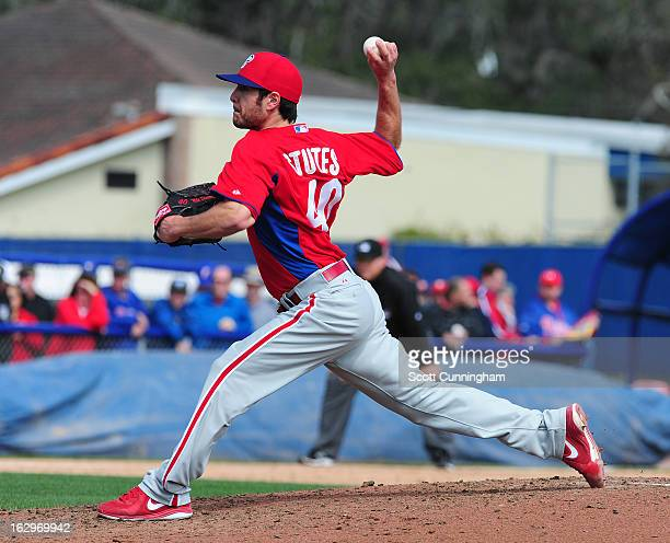Michael Stutes of the Philadelphia Phillies pitches during a spring training game against the Toronto Blue Jays at Florida Auto Exchange Stadium on...