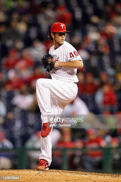 Michael Stutes of the Philadelphia Phillies throws a pitch during the game against the Miami Marlins at Citizens Bank Park on April 11 2012 in...