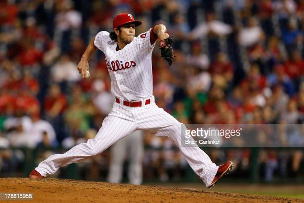 Michael Stutes of the Philadelphia Phillies throws a pitch during the game against the Washington Nationals at Citizens Bank Park on June 19 2013 in...