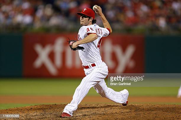 Michael Stutes of the Philadelphia Phillies throws the ball during the game against the Washington Nationals at Citizens Bank Park on June 17 2013 in...