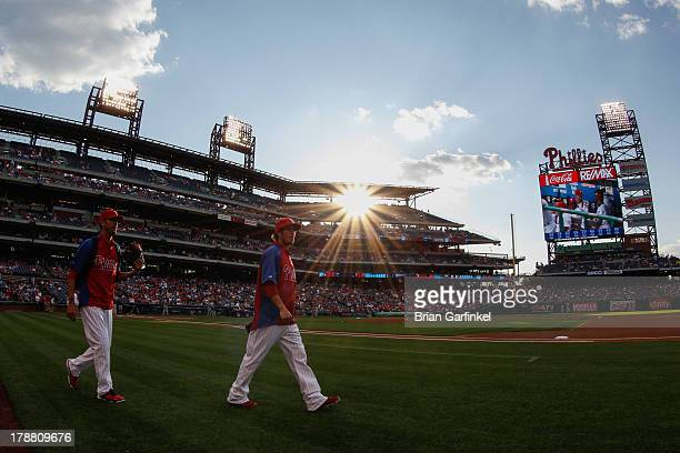 Michael Stutes of the Philadelphia Phillies walks to the bull pen before the game against the Washington Nationals at Citizens Bank Park on June 19...