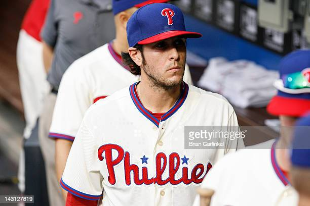 Michael Stutes of the Philadelphia Phillies walks towards the clubhouse after the game against the New York Mets at Citizens Bank Park on April 14...