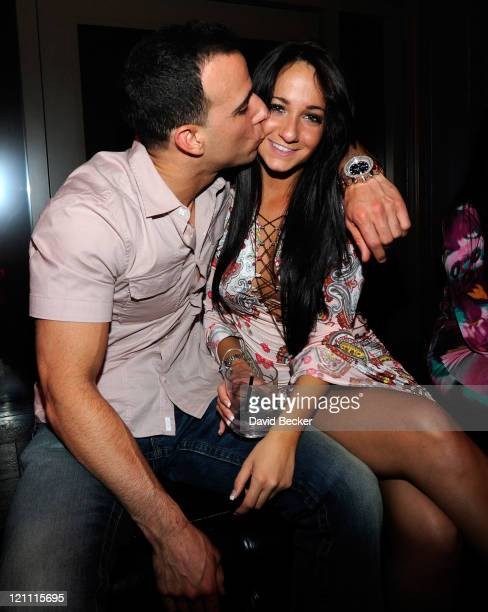 Michael Sussman and Melissa Sorrentino attend the Chateau Nightclub Gardens at the Paris Las Vegas on August 13 2011 in Las Vegas Nevada