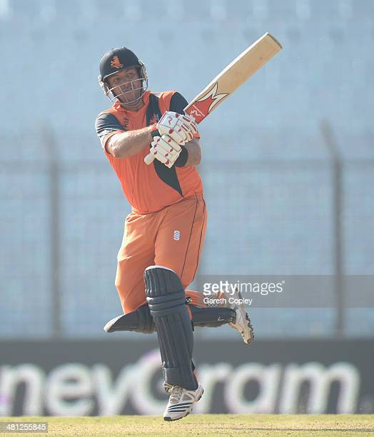 Michael Swart of the Netherlands bats during the ICC World Twenty20 Bangladesh 2014 Group 1 match between New Zealand and the Netherlands at Zahur...