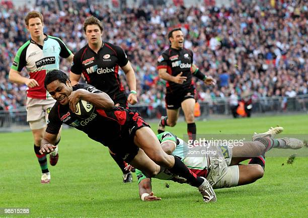Michael Tagicakibau of Saracens avoids a tackle to score a try during the Guinness Premiership game between Saracens and Harlequins at Wembley...