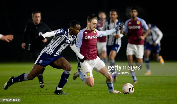 Michael Tait of Aston Villa in action during the Premier League 2 between Aston Villa and West Bromwich Albion at Bodymoor Heath training ground on...