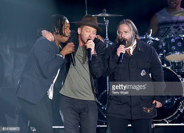Michael TaitTobyMac and Kevin Max Members of DC Talk reunite during TobyMac's performance at the 2016 Dove Awards at Allen Arena Lipscomb University...