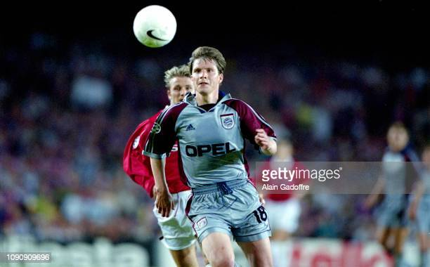 Michael Tarnat of Bayern Munich during the UEFA Champions league final match between Manchester United and Bayern Munich on May 26 1999 in Camp Nou...