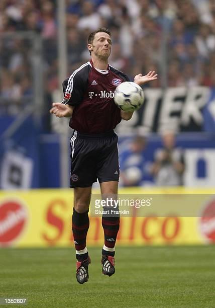 Michael Tarnat of FC Bayern Munich during the Bundesliga match between Hamburg SV and FC Bayern Munich at The AOL Arena Hamburg Germany on August 24...
