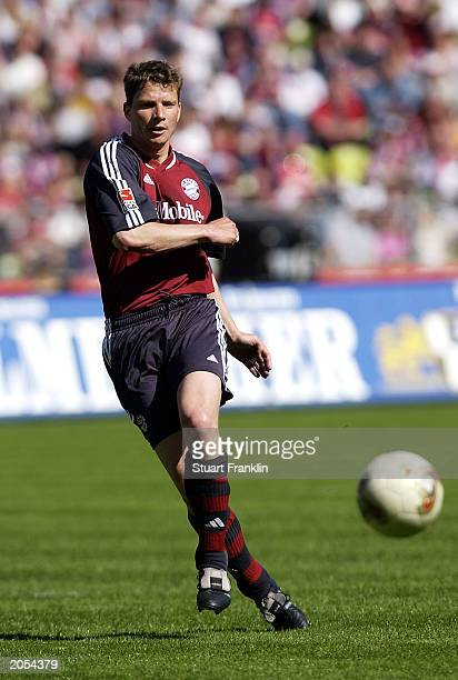 Michael Tarnat of FC Bayern Munich passes the ball during the German Bundesliga match between FC Bayern Munich and 1FC Kaiserslautern held on May 3...