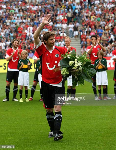 Michael Tarnat of Hannover seen prior to the pre season friendly match between Hannover 96 and Arsenal at AWD Arena on July 29 2009 in Hanover Germany