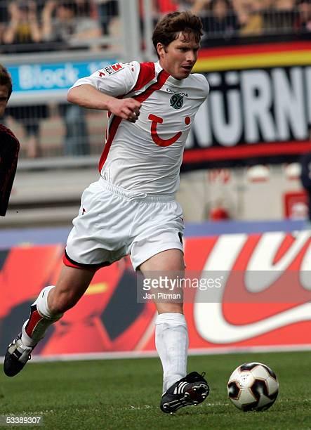 Michael Tarnat of Hanover during the Bundesliga match between 1FC Nuremberg and Hanover 96 at the Franken Stadium on August 13 2005 in Nuremberg...