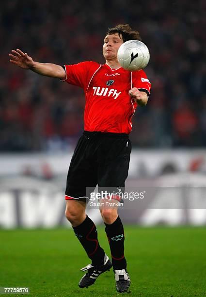 Michael Tarnat of Hanover during the Bundesliga match between Hanover 96 and Borussia Dortmund at the AWD Arena on November 3 2007 in Hanover Germany