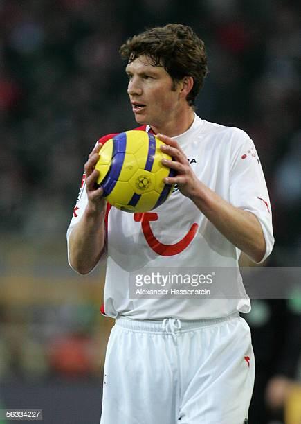 Michael Tarnat of Hanover holds the ball during the Bundesliga match between Borussia Dortmund and Hanover 96 at the Signal Iduna Park on December 3...