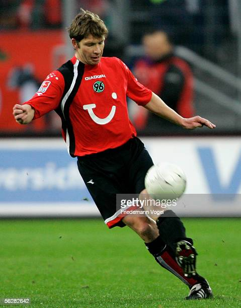 Michael Tarnat of Hanover in action during the Bundesliga match between Hanover 96 and 1FC Kaiserslautern at the AWD Arena on November 26 2005 in...
